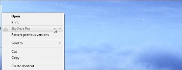 Hướng dẫn xóa lệnh SkyDrive Pro trong menu chuột phải